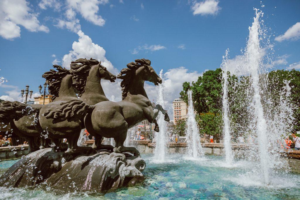 Fountains in Alexander Garden Moscow