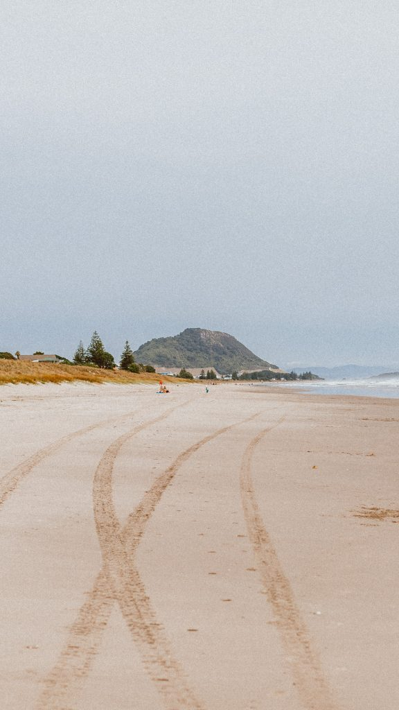 A view to Mount Maunganui from the main beach in Summer