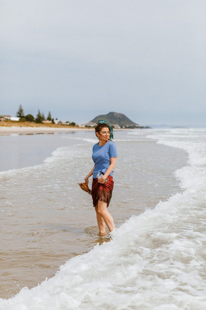 Kseniia from theStyleJungle at the Mount Maunganui Beach